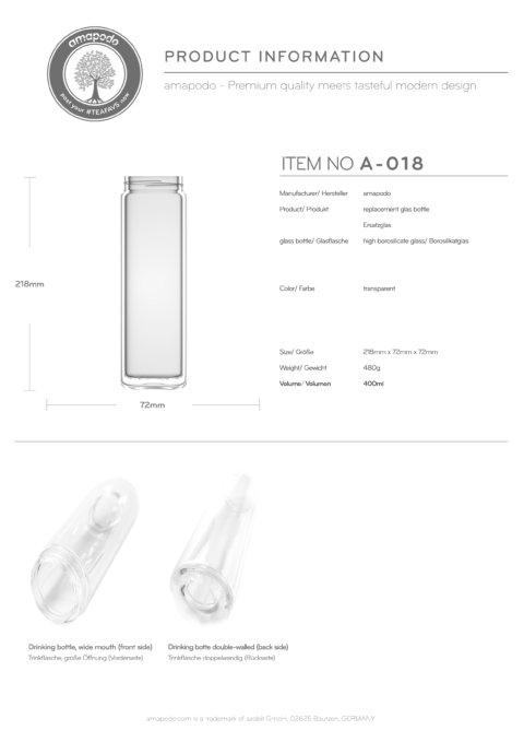 amapodo Teeflasche Ersatzglas einzeln 400ml clear design Produkt-Datenblatt