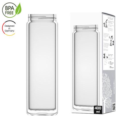 amapodo Teeflasche Ersatzglas einzeln 400ml clear design Verpackung
