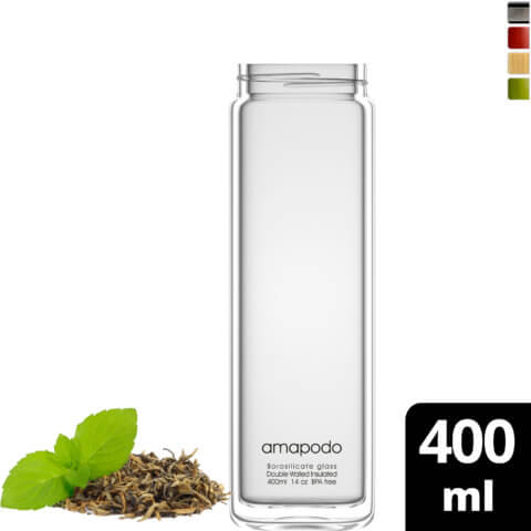 amapodo Teeflasche Ersatzglas einzeln 400ml design logo vorn