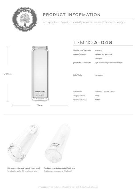 amapodo Teeflasche Ersatzglas einzeln 400ml design logo Produkt-Datenblatt