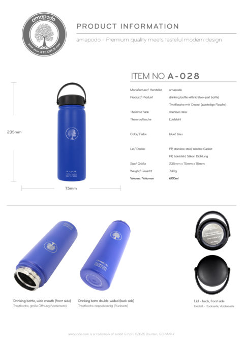 amapodo Trinkflasche 600ml Blau Produkt-Datenblatt