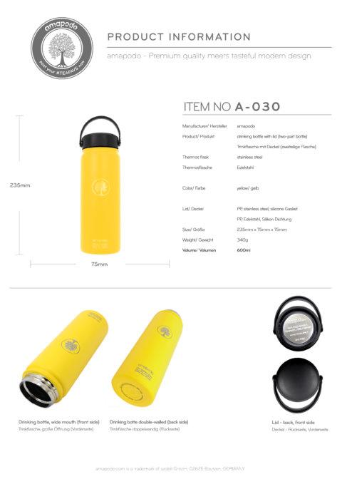 amapodo Trinkflasche 600ml Gelb Produkt-Datenblatt