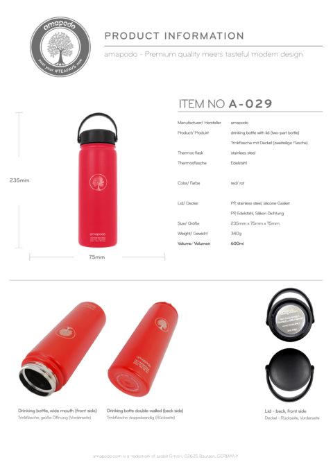 amapodo Trinkflasche 600ml Rot Produkt-Datenblatt