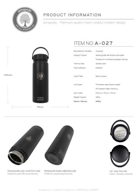amapodo Trinkflasche 600ml Schwarz Produkt-Datenblatt