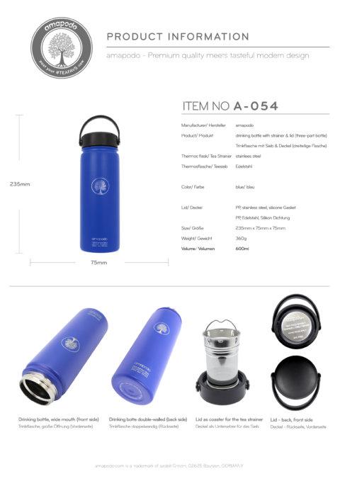 amapodo Trinkflasche mit Sieb 600ml Blau Produkt-Datenblatt