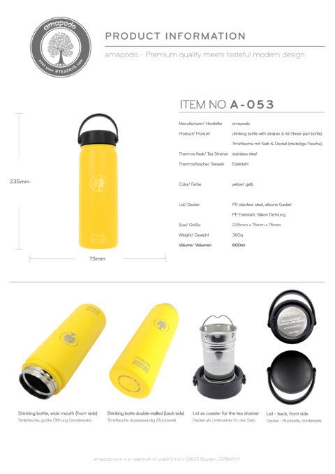 amapodo Trinkflasche mit Sieb 600ml Gelb Produkt-Datenblatt