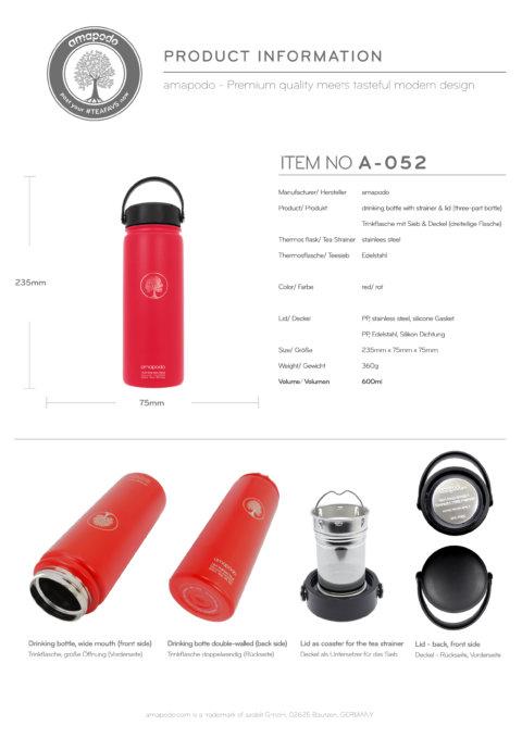 amapodo Trinkflasche mit Sieb 600ml Rot Produkt-Datenblatt