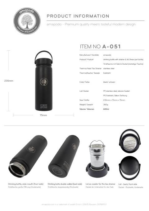 amapodo Trinkflasche mit Sieb 600ml Schwarz Produkt-Datenblatt