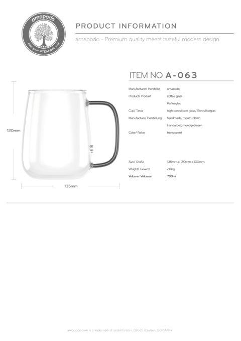 amapodo Kaffeetasse groß aus Glas Henkel Schwarz 700ml Produkt-Datenblatt
