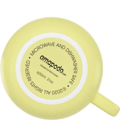 amapodo Kaffeetasse aus Porzellan mit Henkel Gelb 600ml liegend Tassenboden
