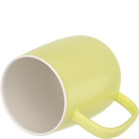 amapodo Kaffeetasse aus Porzellan mit Henkel Gelb 600ml liegend Tassenöffnung