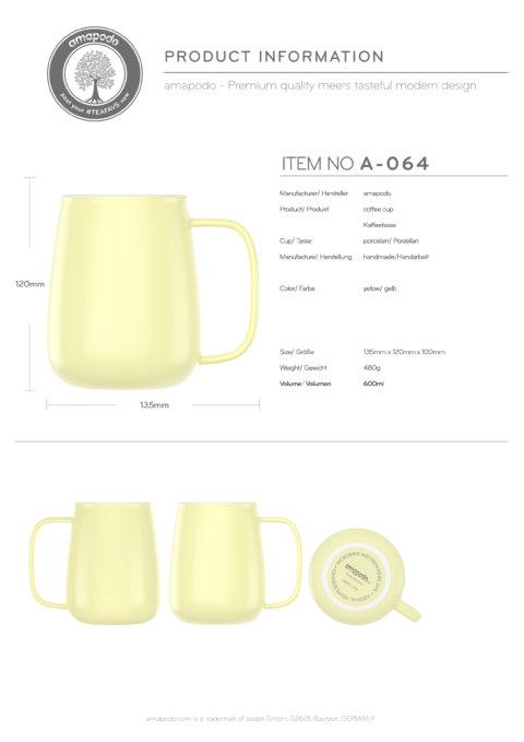 amapodo-Kaffeetasse groß aus Porzellan mit Henkel 600ml Gelb Produkt-Datenblatt