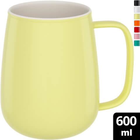 amapodo-Kaffeetasse groß aus Porzellan mit Henkel 600ml Gelb Oben