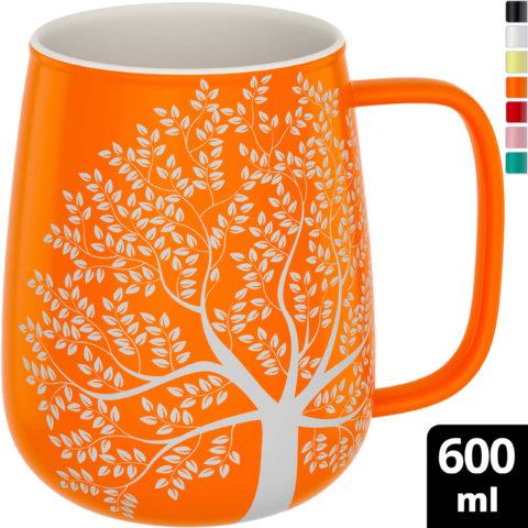 amapodo Kaffeetasse aus Porzellan mit Henkel 600ml Orange Oben