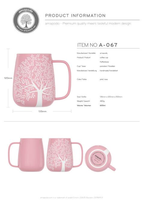 amapodo-Kaffeetasse groß aus Porzellan mit Henkel 600ml Rosa Produkt-Datenblatt