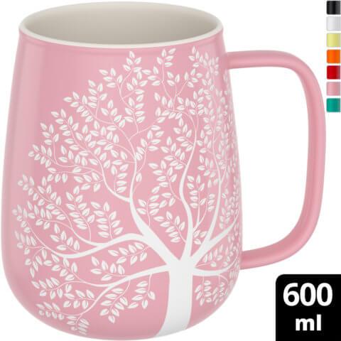 amapodo-Kaffeetasse groß aus Porzellan mit Henkel 600ml Rosa Oben