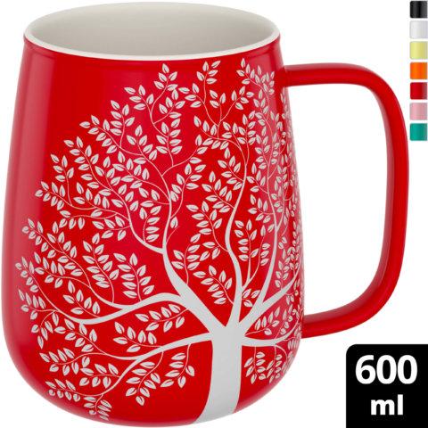 amapodo Kaffeetasse aus Porzellan mit Henkel 600ml Rot Oben