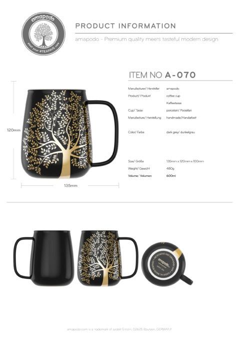 amapodo-Kaffeetasse groß aus Porzellan mit Henkel 600ml Dunkelgrau Produkt-Datenblatt