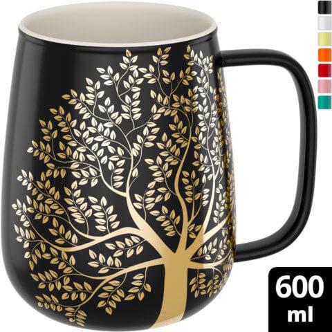 amapodo-Kaffeetasse aus Porzellan mit Henkel 600ml Dunkelgrau Oben