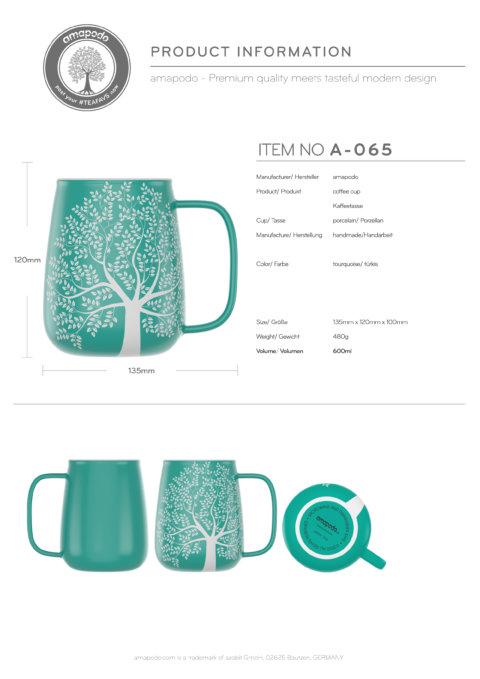 amapodo-Kaffeetasse groß aus Porzellan mit Henkel 600ml Türkis Produkt-Datenblatt