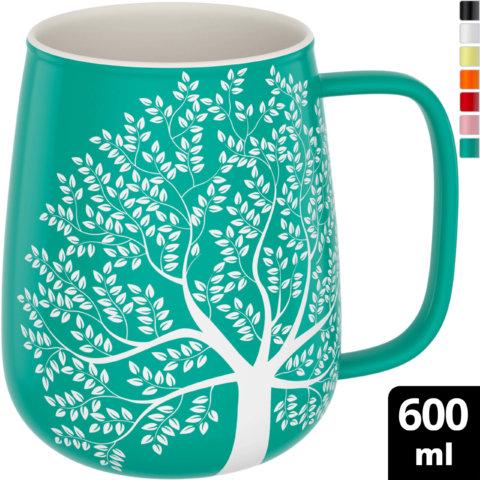 amapodo Kaffeetasse aus Porzellan mit Henkel 600ml Türkis Oben