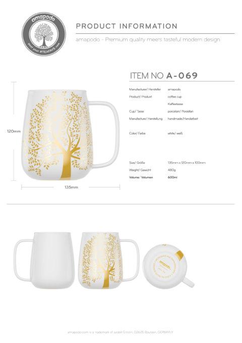 amapodo-Kaffeetasse groß aus Porzellan mit Henkel 600ml Weiß Produkt-Datenblatt