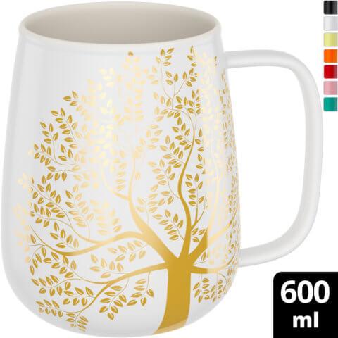 amapodo-Kaffeetasse aus Porzellan mit Henkel 600ml Weiß Oben