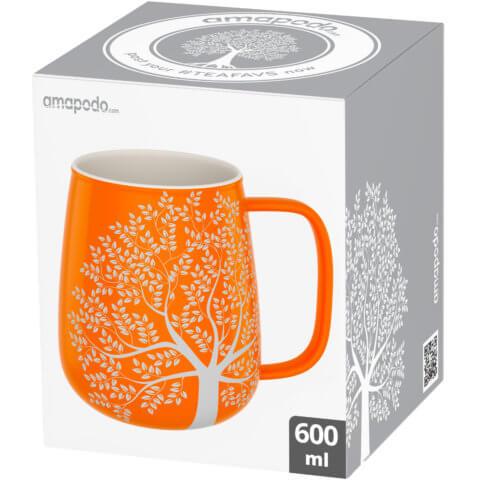 amapodo-Kaffeetasse groß aus Porzellan mit Henkel 600ml Orange Verpackung