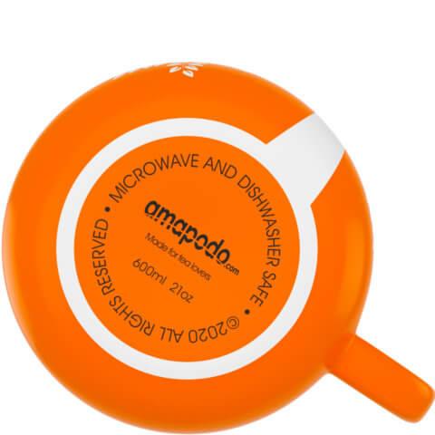 amapodo Kaffeetasse aus Porzellan mit Henkel Orange 600ml liegend Tassenboden