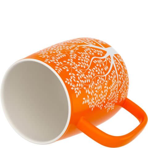amapodo Kaffeetasse aus Porzellan mit Henkel Orange 600ml liegend Tassenöffnung