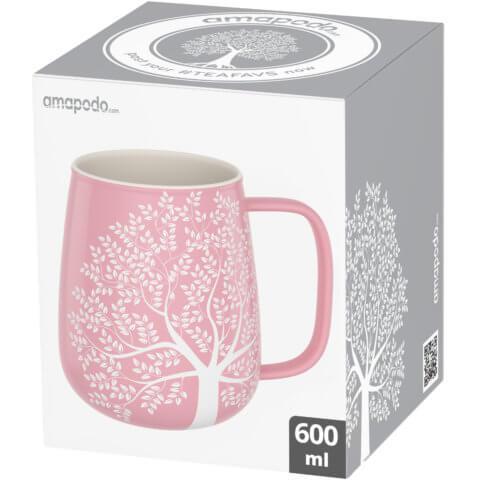 amapodo-Kaffeetasse groß aus Porzellan mit Henkel 600ml Rosa Verpackung
