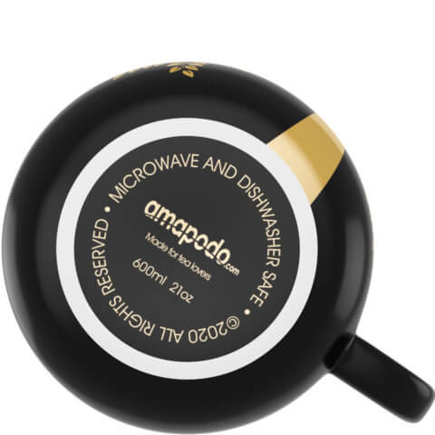 amapodo Kaffeetasse aus Porzellan mit Henkel Dunkelgrau 600ml liegend Tassenboden