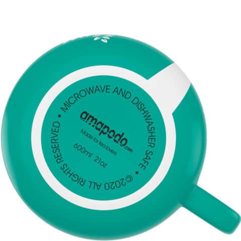 amapodo Kaffeetasse aus Porzellan mit Henkel Türkis 600ml liegend Tassenboden