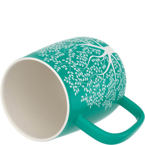 amapodo Kaffeetasse aus Porzellan mit Henkel Türkis 600ml liegend Tassenöffnung