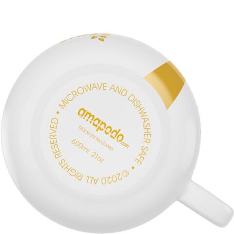 amapodo Kaffeetasse aus Porzellan mit Henkel Weiß 600ml liegend Tassenboden