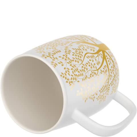 amapodo Kaffeetasse aus Porzellan mit Henkel Weiß 600ml liegend Tassenöffnung