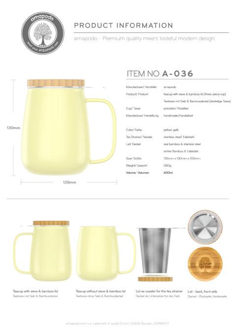 amapodo Teetasse mit Deckel und Sieb Gelb 600ml Produkt-Datenblatt