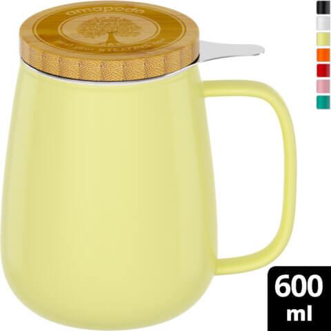 amapodo Teetasse mit Deckel und Sieb Gelb 600ml oben