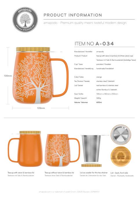 amapodo Teetasse mit Deckel und Sieb Orange 600ml Produkt-Datenblatt