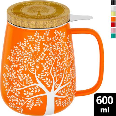 amapodo Teetasse mit Deckel und Sieb Orange 600ml oben