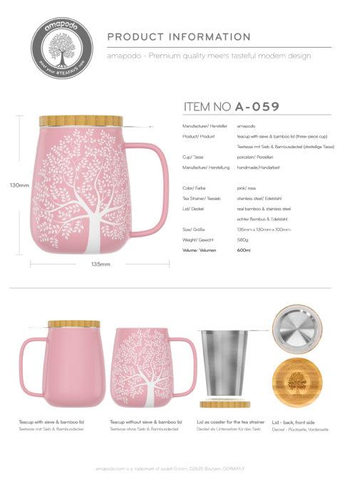 amapodo Teetasse mit Deckel und Sieb Rosa 600ml Produkt-Datenblatt