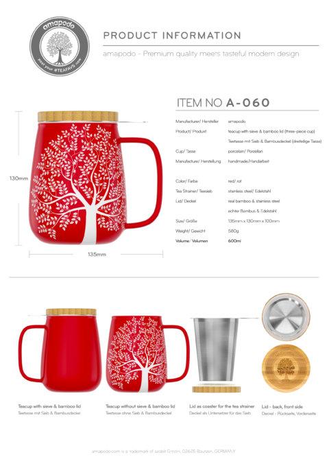 amapodo Teetasse mit Deckel und Sieb Rot 600ml Produkt-Datenblatt