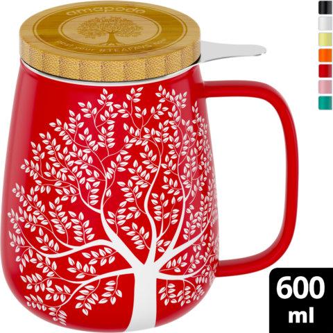 amapodo Teetasse mit Deckel und Sieb Rot 600ml oben