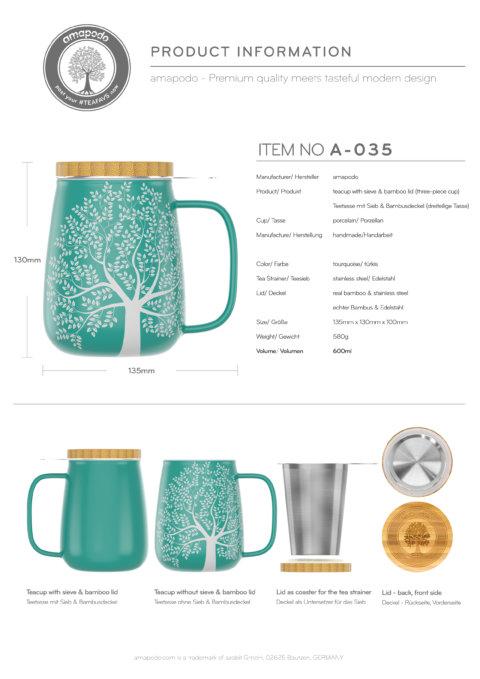 amapodo Teetasse mit Deckel und Sieb Türkis 600ml Produkt-Datenblatt