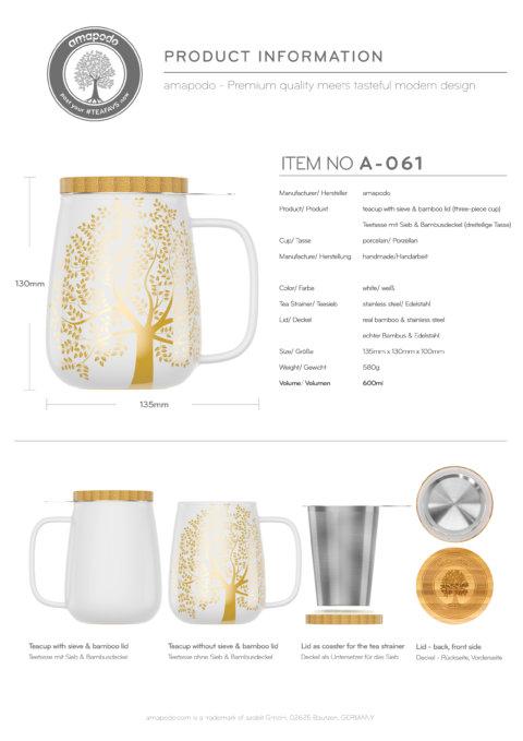 amapodo Teetasse mit Deckel und Sieb Weiß 600ml Produkt-Datenblatt