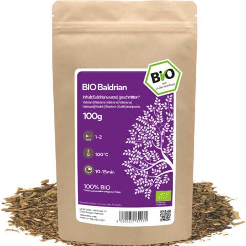 amapodo Bio Baldrian Tee 100g lose Verpackung