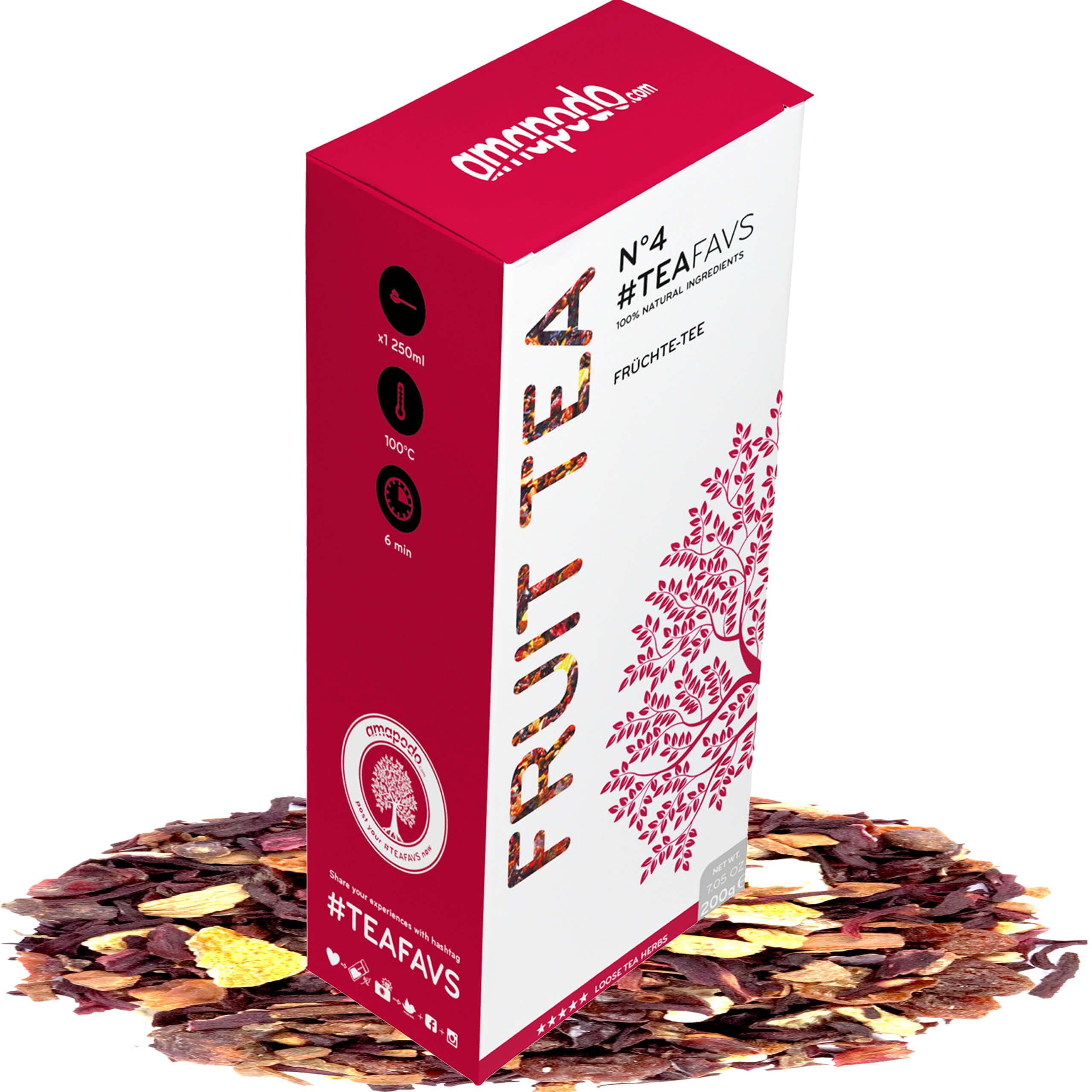 amapodo Früchtetee lose 200g ausreichend für 40 Tassen Kindertee, Kinder lieben diesen Früchte Tee - 100% Natürlich