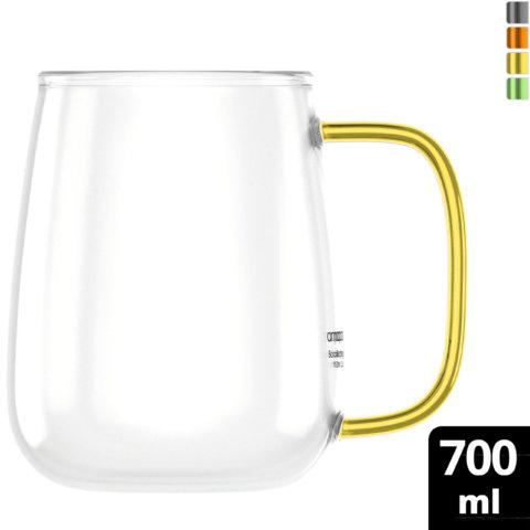 amapodo Kaffeetasse groß aus Glas Henkel Grün 700ml vorn
