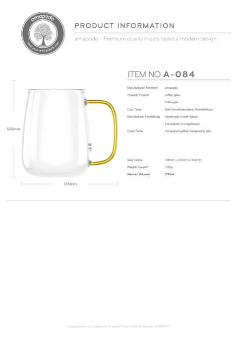 amapodo Kaffeetasse groß aus Glas Henkel Gelb 700ml Produkt-Datenblatt