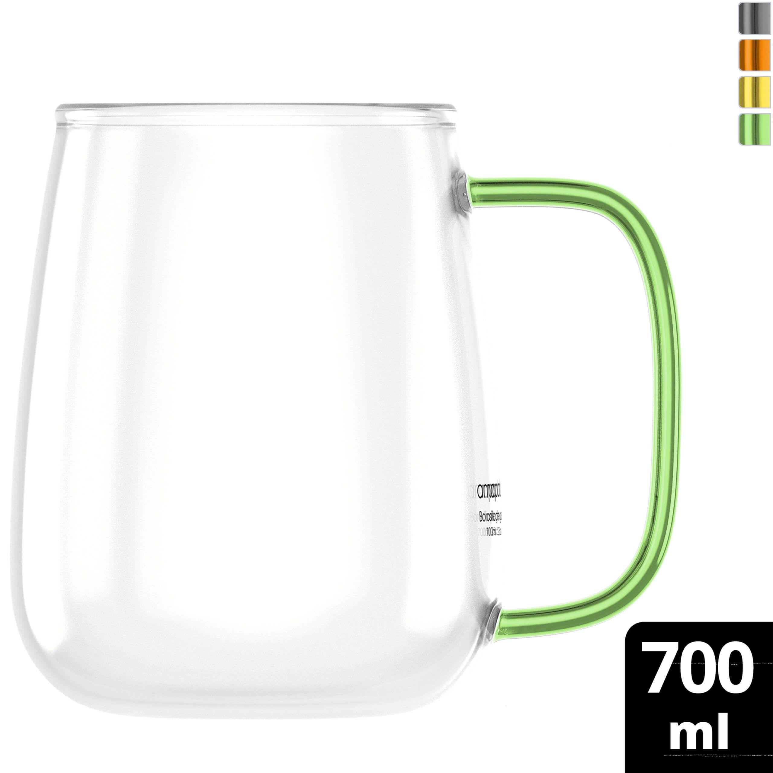 amapodo Kaffeetasse groß aus Glas mit Henkel Grün 700ml Kaffeeglas plastikfrei Geschenke fur Frauen Manner